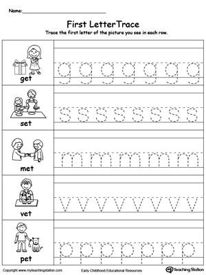Lowercase Letter Tracing: ET Words