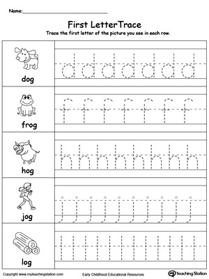 Lowercase Letter Tracing: OG Words