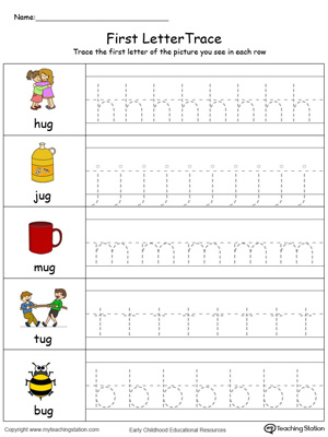 Lowercase Letter Tracing: UG Words in Color