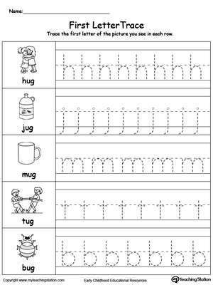 Lowercase Letter Tracing: UG Words
