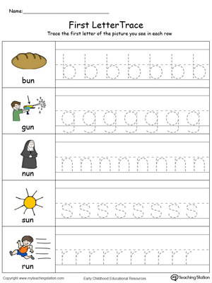 Lowercase Letter Tracing: UN Words in Color