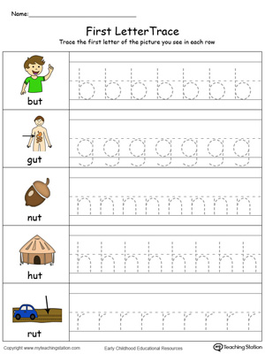 Lowercase Letter Tracing: UT Words in Color