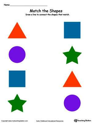 math worksheet : match the shapes in color  myteachingstation  : Kindergarten Matching Worksheets