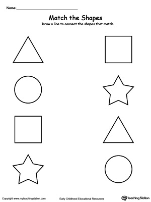 Number Names Worksheets shape worksheets for preschoolers : Match the Other Half of the Shape | MyTeachingStation.com