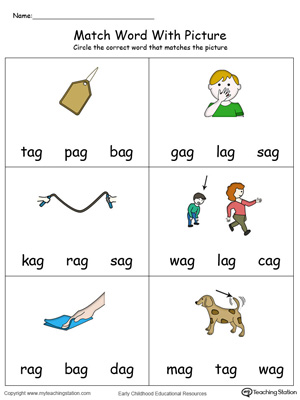 Match Word with Picture: AG Words in Color. Identifying words ending in  –AG by matching the words with each picture.