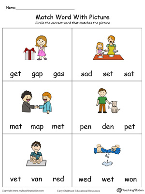5 letter words ending in ch preschool and kindergarten worksheets myteachingstation 26044 | Match Word With Picture ET Words Color