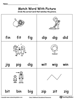 Match Word with Picture: IG Words. Identifying words ending in  –IG by matching the words with each picture.