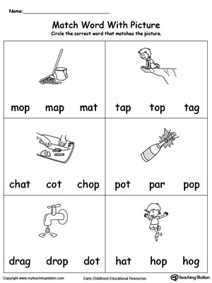 Op Word Family Workbook For Kindergarten