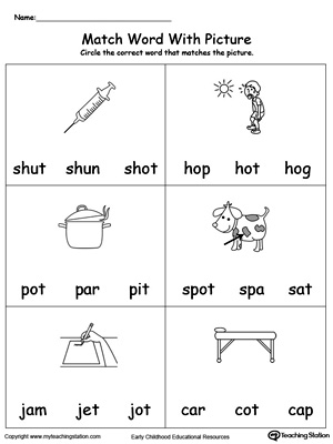 Match Word with Picture: OT Words. Identifying words ending in  –OT by matching the words with each picture.