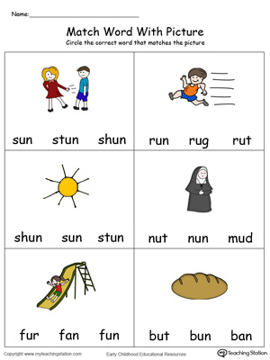 Match Word with Picture: UN Words in Color. Identifying words ending in  –UN by matching the words with each picture.
