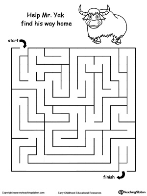 Boost fine motor skills and develop their concept of direction with this printable yak maze.
