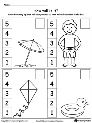 Kindergarten Measurement Printable Worksheets | MyTeachingStation.com