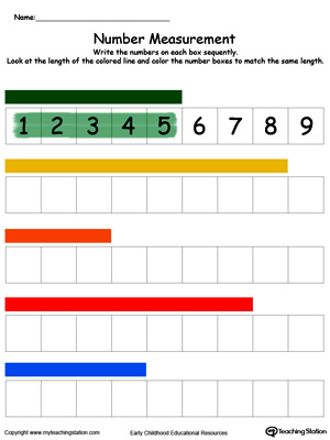 Measuring Numbers Ruler Part Color on kindergarten worksheets number families