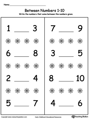 math worksheet : number in between 1 through 10 worksheet  myteachingstation  : Number 10 Worksheets For Kindergarten