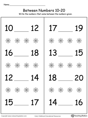 Number in Between 10 Through 20 Worksheet