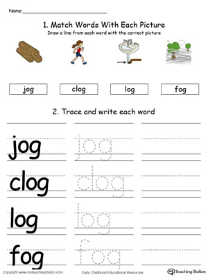 OG Word Family Connect, Trace and Write in Color
