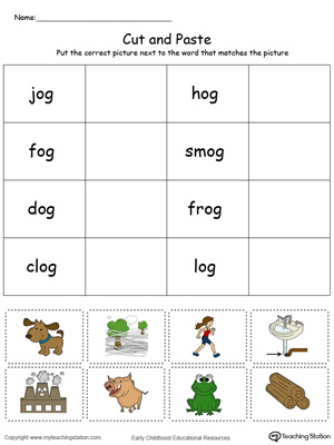 Learn word definition and spelling with this OG Word Family Match Picture with Word in Color worksheet.