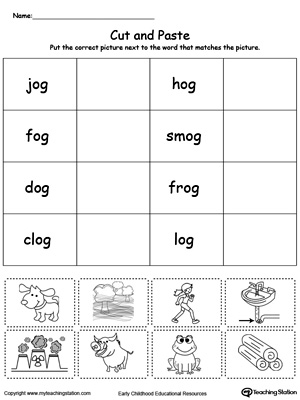 Printables Word Family Worksheets Kindergarten og word family workbook for kindergarten myteachingstation com match picture with worksheet