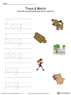 Match word with pictures in this OG Word Family printable worksheet in color.