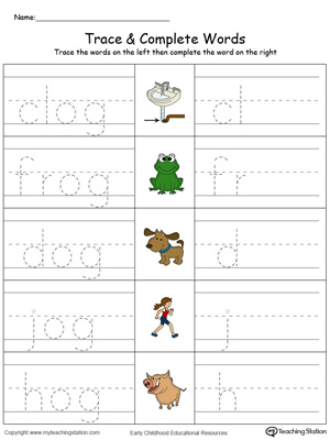 Trace then write the words themselves in this OG Word Family Trace and Write in Color printable worksheet.