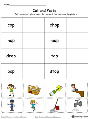 Learn word definition and spelling with this OP Word Family Match Picture with Word in Color worksheet.