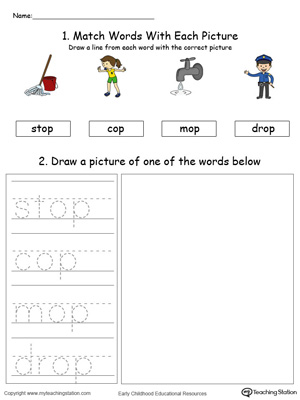Practice drawing, tracing and identifying the sounds of the letters OP in this Word Family printable.