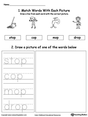 Practice tracing, drawing and recognizing the sounds of the letters OP in this Word Family printable.