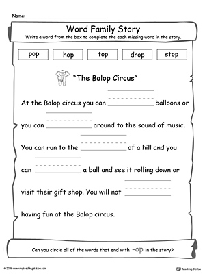 math worksheet : op word family story  myteachingstation  : Story Worksheets For Kindergarten