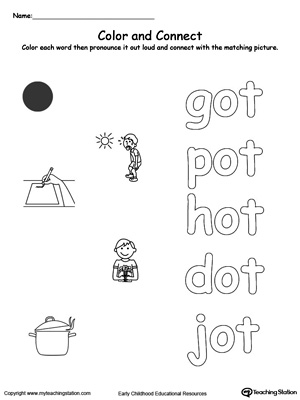Practice coloring and fine motor skills in this OT Word Family printable worksheet.