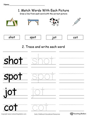 Identify, trace and write words in this OT Word Family printable worksheet in color.