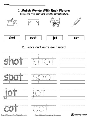 OT Word Family Connect, Trace and Write