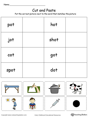 Learn word definition and spelling with this OT Word Family Match Picture with Word in Color worksheet.