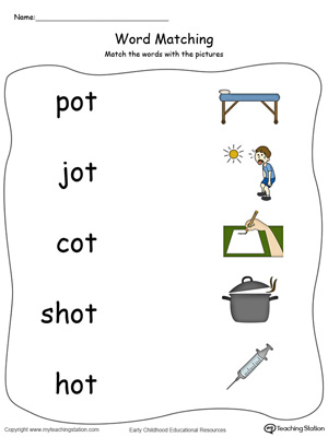 OT Word Family Picture and Word Match in Color. Identifying words ending in  –OT by matching the words with each picture.