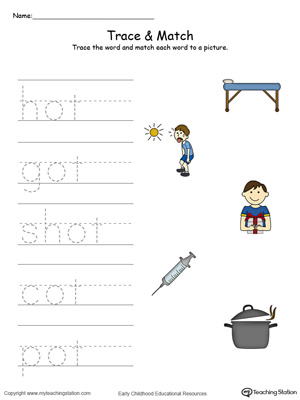 Match word with pictures in this OT Word Family printable worksheet in color.