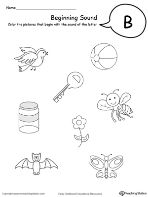 math worksheet : beginning sound of the letter b  myteachingstation  : Letter Sound Worksheets For Kindergarten