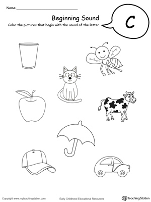 math worksheet : beginning sound of the letter c  myteachingstation  : Letter C Worksheets Kindergarten