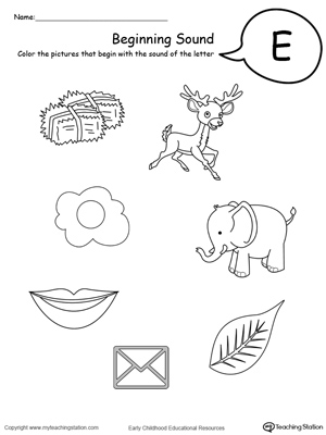 math worksheet : beginning sound of the letter e  myteachingstation  : Letter E Worksheets Kindergarten