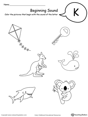 Printables K Worksheets For Kindergarten beginning sound of the letter k myteachingstation com k
