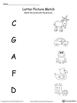 Uppercase Beginning Letter Sound: A C D F G