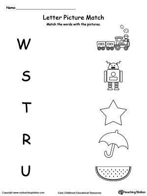 Uppercase Beginning Letter Sound: W S T R U | MyTeachingStation.com