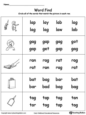 math worksheet : ag word family workbook for kindergarten  myteachingstation  : Kindergarten Word Worksheets