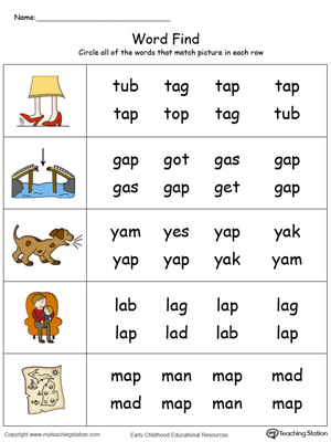 Match pictures with words using similar letter patterns in this AP Word Family printable worksheet in color.