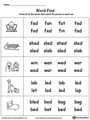 Worksheets Ed Worksheets ed word family workbook for kindergarten myteachingstation com picture puzzle words worksheet jpg