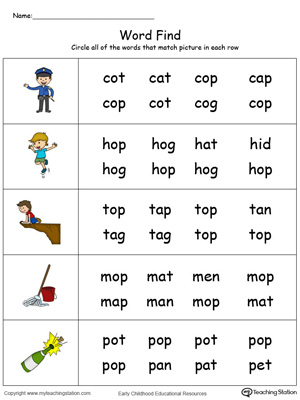 Picture Word Find: OP Words in Color