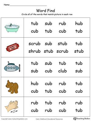Picture Word Find: UB Words in Color