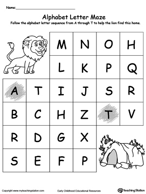 Worksheets Letter Practice practice alphabet sequence with letter maze myteachingstation com maze