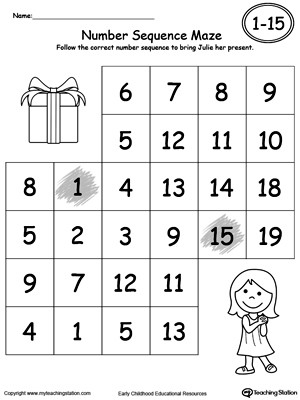 math worksheet : practice number sequence with number maze 1 20  myteachingstation  : Number Sequence Worksheets For Kindergarten