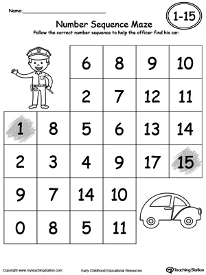 math worksheet : practice number sequence with number maze 1 15 part 2  : Sequencing Worksheet Kindergarten