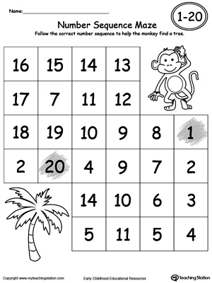 math worksheet : practice number sequence with number maze 1 20  myteachingstation  : Number Worksheets For Kindergarten 1 20
