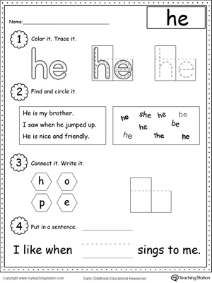 math worksheet : learning sight word he  myteachingstation  : Free Printable Worksheets For Kindergarten Sight Words